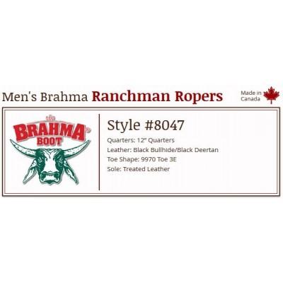 "Black Bullhide/Black Deertan 12"" 8047 Canada West Brahma Ranchman Ropers"