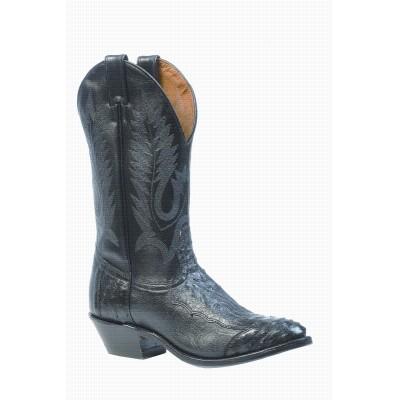 Boulet 4 Piece Smooth Ostrich-Black Medium Cowboy Toe Boot 1513