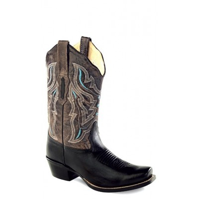 Old West 18008 Ladies Black Foot/Grey Crackle Shaft Fashion Boots