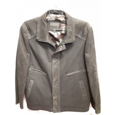 Casual leather & Wool combo jacket brown 4776