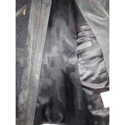 Casual leather & Wool combo jacket Green /Grey /Blu. 4804