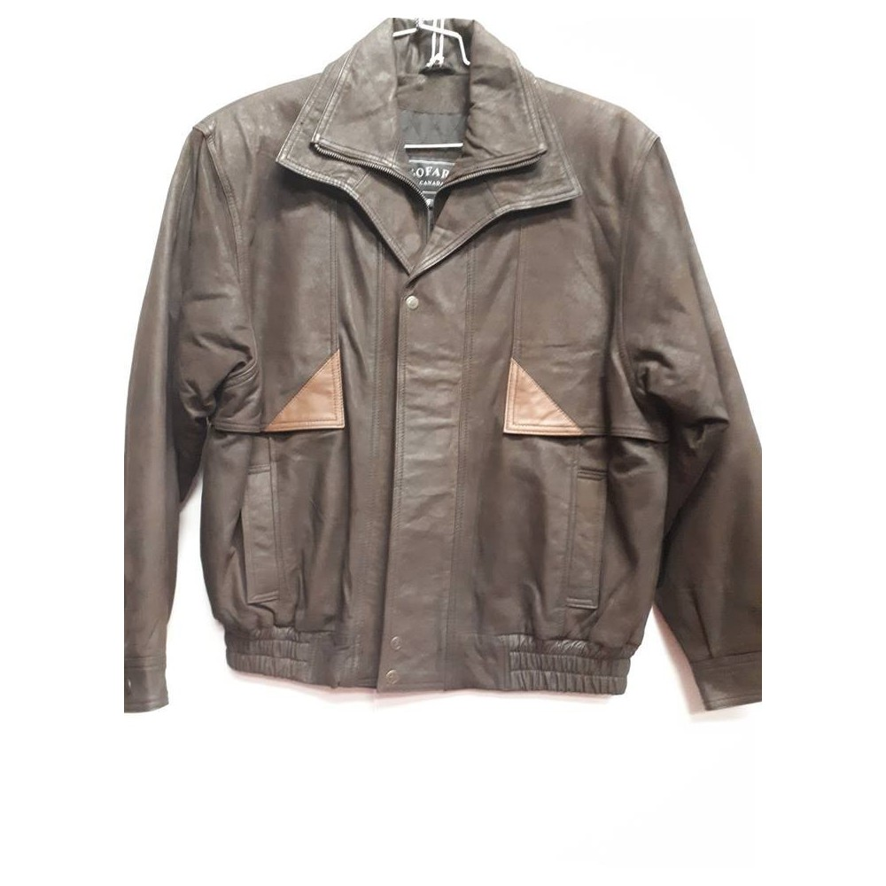 Double collar brown brushed goat bomber-S