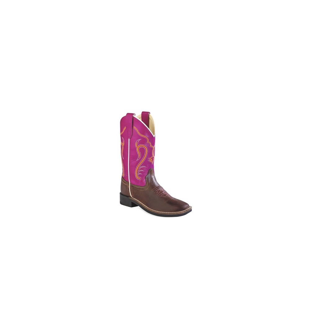 OLD WEST  Brown Canyon Foot/Dark Pink Boot -  Child