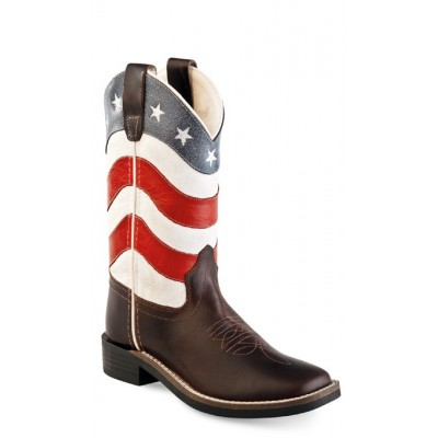 OLD WEST BSC1824 Brown Foot Red/White Shaft Boot -  Childrens