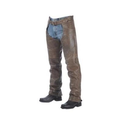 Unisex Premium Buffalo Leather Chaps Brown
