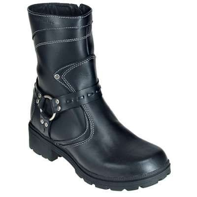 Milwaukee Boots: Women's Daredevil Black Leather Motorcycle Boots MVB239