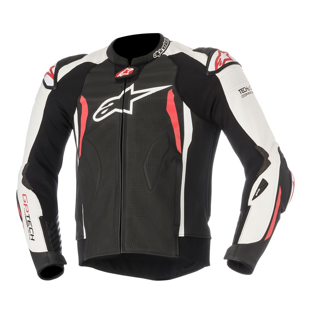 GP TECH V2 LEATHER JACKET  black / white /red TECH-AIR® COMPATIBLE - by Alpinestars